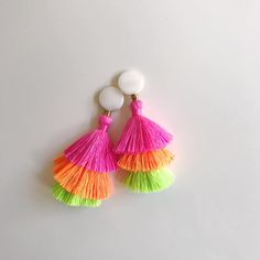 mother of pearl + neon ombre tassels