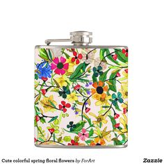 Cute colorful spring floral flowers Vinyl Wrapped Flask
