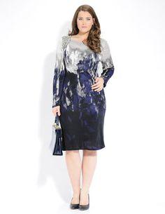 Designer Fashion for plus size....Elena Miro patterned dress $374.90