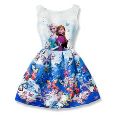 Awesome Summer Girls Dress Anna Elsa Dress Party Vestidos Teenagers Butterfly Print Princess Dress for Girls Elza Baby Girl Clothes - $21.69 - Buy it Now!