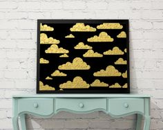 Printable art gold and black clouds download by Printsofheart, £3.00