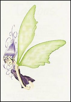 """Fairy 7 Temporaray Tattoo by Tattoo Fun. $3.95. This cute temporary tattoo has a fairy with purple hair and green wings. Size is 2.5"""" x 3"""""""