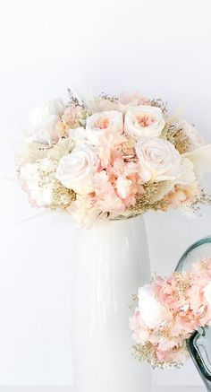 Rose Gold Bridal Bouquet Preserved flowers not by Floralescence Hydrangea Bouquet Wedding, Gold Bouquet, Blush Wedding Flowers, White Wedding Bouquets, Rose Wedding, Pink Hydrangea, Bridal Bouquets, Wedding Dresses, Rose Gold Centerpiece