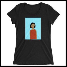 Women's T-shirt - Woman in red dress with blue background http://www.houseofterrance.com/patrick-earl-for-hot-fashions/womens-t-shirt-woman-in-red-dress-with-blue-background