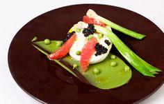 Burrata, pea, grapefruit, caviar and leek salad - Marcus Wareing