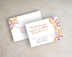 Orange and purple wedding invitation contemporary by appleberryink