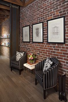 Elegant Fake Brick Wall vogue San Francisco Eclectic Hall Innovative Designs with armchair brick brick wall side table steel steel beam wood beams wood floor