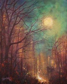 "Saatchi Art Artist Tom Shropshire; Painting, ""City Moon"" #art"