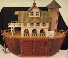 Millwood Toy Co Noahs Ark Carved Wood Folk Art BarnI LOVE this! Someday when Daniel has free time...