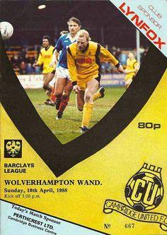 Cambridge Utd 1 Wolves 1 in April 1988 at Abbey Stadium. The programme cover 🏴 Cambridge United Fc, Football Program, Wolverhampton, Wolves, 1980s, Kicks, The Unit, Club, Baseball Cards