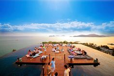 The rooftop bar at SRI PANWA in Phuket, Thailand, appears to float on a wraparound infinity pool with knock-your-socks-off views over Phuket's Cape Panwa peninsula and the Andaman Sea. Phuket Thailand, Thailand Travel, Hotel Thailand, Phuket Hotels, Hotels And Resorts, Best Hotels, Villa Phuket, Design Hotel, Restaurant Club