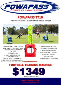 Purchase your own TT10 Powapass football training machine. Designed for clubs & senior players aged 16+. Email sales@powasports.com @thealeague @caltexsocceroos @ffsa1 @ffacup #soccer #football #keepers #coaches #goalies #players #sport #training #players
