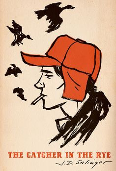 The Catcher in the Rye book cover (btw brilliant book). I've seen many different Catcher in the Rye book covers, but I've never seen any quite as good as this one....The fact that the artist has only used two colours, orange and black makes it minimalistic and memorable. The smoke from the cigarette changing into a bird is pretty awesome.