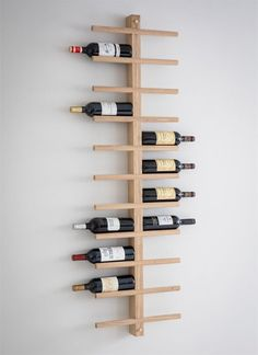 Woodstock Wine Rack at STORE. Stylish wall-mounted raw oak wine rack with space for 22 bottles of your favourite bott. Oak Wine Rack, Wine Rack Wall, Wine Wall, Wine Bottle Holders, Wine Bottles, Wooden Wine Racks, Wall Mounted Wine Racks, Diy Wine Racks, Wooden Plate Rack