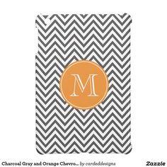 Charcoal Gray and Orange Chevron Custom Monogram iPad Mini Cases