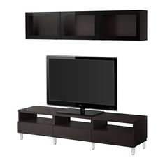 "BESTÅ TV storage combination - Vara black-brown clear glass, 70 7/8x7 7/8/15 3/4x65 3/8 "" - IKEA"