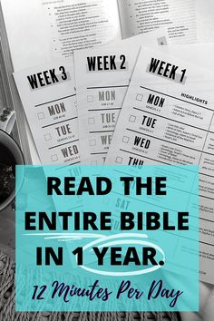 Printable Bible Reading Schedule to Read the Entire Bible in 1 Year. Just 12 Minutes Per Day. Bible Study Plans, Bible Study Tips, Bible Study Journal, Scripture Study, Bible Verses, Scriptures, Bible Reading Schedule, Year Bible Reading Plan, Bible In A Year
