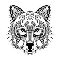 zentangle: Vector ornamental Wolf, ethnic zentangled mascot, amulet, mask of a werewolf,  patterned animal for adult anti stress coloring pages. Hand drawn totem illustration isolated on background.