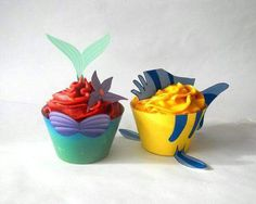 Ariel and flounder cupcakes