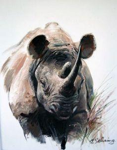Rhino by Adolf Sehring Wildlife Paintings, Wildlife Art, Animal Paintings, Animal Sketches, Animal Drawings, Art Drawings, Rhino Art, Elephant Art, Watercolor Artwork