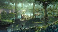 fantasy swamp | Forest swamp wallpaper