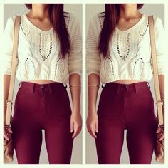 calça cintura alta + tricô cropped