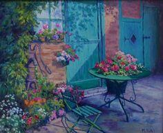 La cour du peintre Oeuvre de Michèle Ratel 46 X 38 (8F)