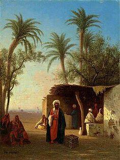 Algérie - Peintre Français Charles Théodore frère (1814-1888), Huile sur panneau, Titre : Village dans le désert Algérien