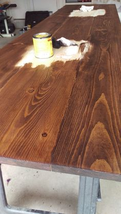 How to Make a Wooden Countertop for Your Bathroom staining wood