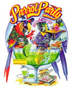 This is ideally what I want to do for a design. Parrots are my restaurant/bars logo. And this design is fun and colorful.