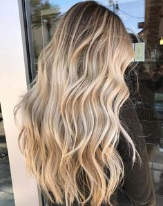 Ombre blonde brazilian human hair wigs balayage wavy full lace lace front w Blonde Hair Looks, Blonde Wavy Hair, Dying Hair Blonde, Beach Blonde Hair, Long Bronde Hair, Dark Hair To Blonde, Blonde Highlights Long Hair, Darker Blonde, Blonde Waves