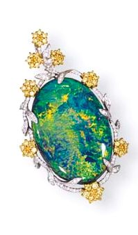 A BLACK OPAL, COLOURED DIAMOND AND DIAMOND PENDANT  Set with a black opal weighing 30.69 carats within the brilliant-cut yellow diamond and diamond floral surround, mounted in 18k white and yellow gold, 4.7 cm high