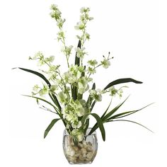 Nearly Natural 1119 Dancing Lady Orchid Liquid Illusion Silk Flower Arrangement