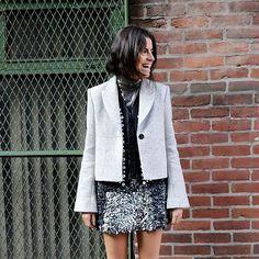 Our grey @rosie_assoulin blazer as seen on Leandra of @manrepeller - only 2 left in stock - run don't walk!