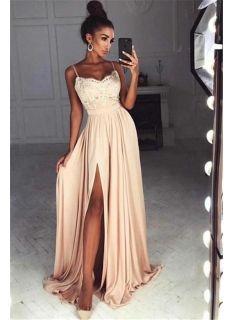 Designer Evening Dresses Long Cheap Online With Lace Evening Dresses Prom Dresses Model Number: - Bal de Promo Pink Formal Dresses, Winter Formal Dresses, A Line Prom Dresses, Blush Prom Dress, Split Prom Dresses, Long Dress Formal, Party Dresses, Dress Prom, Straps Prom Dresses