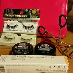 EYES bundle!! elf mineral eyeshadow primer (sheer) NIB,Revlon Eyelash Curler with extra pad (out of packaging, never used), 2 pkgs of false eyelashes Never used!One are demi wispies  in  plum (recommended for brown, hazel, and green eyes) second pair are called Classy black with rhinestones!!! And 2 Color Tattoo 24 hr eyeshadow /gel eyeliner in pots.. colors 105 Stroke of Midnight, and 30 Pomegranate Punk, a rich looking dark purple. All included in Ipsy bag... NO TRADES, NO PAYPAL USE OFFER…