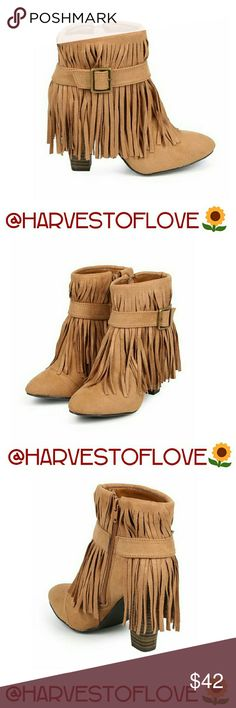 """FRINGE HEEL BUCKLE BOOTIES - NIB Color is Camel Faux suede Fringe boots with a stacked heel  Non-skid soles  Cushioned footbed with padded insole  Zippers on the inside of the boots  Wrap-around Buckle over the Fringe  Heel 3.75 """"  Shaft with heel 7.5 """"  Opening is 10 """"  These stunning boots are true to size❤ BOTIQUE  Shoes Ankle Boots & Booties"""
