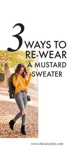 So you're here because I promised three ways to style this mustard sweater. Well, don't worry - I'm about to give you some serious inspiration. Mustard Sweater Outfit, Mustard Yellow Outfit, Mustard Yellow Top, Mustard Yellow Sweater, Jumper Outfit, Winter Sweater Outfits, Winter Sweaters, Fall Winter Outfits, Winter Wear