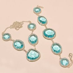 """SWISS BLUE TOPAZ WITH WHITE CZ .925 SILVER NECKLACE 18""""  #Handmade #Pendant"""