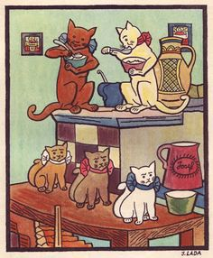 Illustration by the Czech artist ,Josef Lada Retro, Children's Book Illustration, Cat Illustrations, Vintage Cat, Cute Images, Large Art, Cat Art, Illustrators, Folk Art