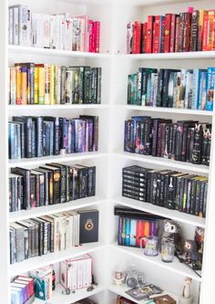 "msrandomcreation: "" Just One Word Book Photo Challenge July 2016 Day Library I had a plan to go to a library for today but I'm cheating & showing some my personal library :) "" Dream Library, Library Books, World Of Books, My Books, Nerd Room, Unique Bookshelves, Bookcases, Corner Bookshelves, Bookshelf Organization"