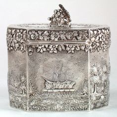 American sterling silver repoussé tea caddy, with ship motif on one side, a church on the end and a figural grape design finial - Peter Krider, Philadelphia c. 1870's (spencermarks) (b)