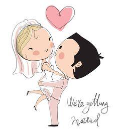 Set Wedding and Love di Natalia Skripko su Shutterstock Wedding Art, Wedding Couples, Girl Cartoon, Cute Cartoon, Chibi, Curvy Bride, Couple Illustration, Anime Art Girl, Cute Dolls