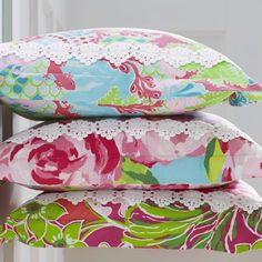 "Lilly Pulitzer Sister Florals Duvet Covers and Shams - Garnet Hill standard size ""Checking in Blue"" pattern"