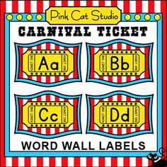 These fun Carnival Ticket theme word wall labels will look fantastic on your classroom wall! This set is so versatile because you can make any word. Circus Theme Classroom, Classroom Decor Themes, Classroom Jobs, Classroom Walls, First Grade Classroom, Word Wall Labels, Theme Words, Elementary School Counseling, School Themes
