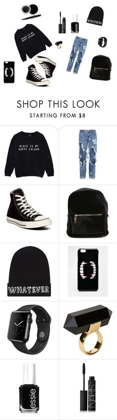 """Black is my happy colour"" by jazzypacman ❤ liked on Polyvore featuring One Teaspoon, Converse, Local Heroes, ASOS, Monki, Essie, NARS Cosmetics, Mary Kay and Lazzy"