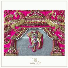 Peacock and elephant detailing at its best - Handwork Jobs Wedding Saree Blouse Designs, Pattu Saree Blouse Designs, Blouse Designs Silk, Designer Blouse Patterns, Salwar Designs, Embroidery Works, Embroidery Designs, Hand Embroidery, Embroidery Stitches