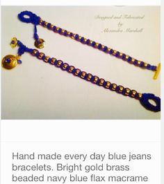 These Irish Linen bracelets by Alexandra Marshall are ail available in your choice of cord colors, metal finishes, and sizes S, M, & L. Specify size desired when ordering. #B500. $39. Each. To order double click photo.