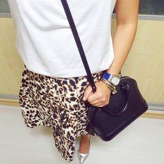 LOUIS VUITTON Alma BB in Epi leather black bag | ZARA animal print skirt | MANGO White Tee | CHARRIOL bracelet | instagram: @quennandher | https://instagram.com/quennandher