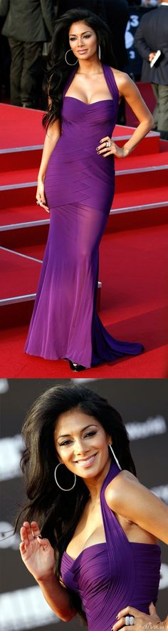 In a purple bandage dress by Herve Leger at the Berlin premiere of MIB 3. I love her hair & her boobs!